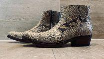 Python leren, slangenleren laarzen kleur natural