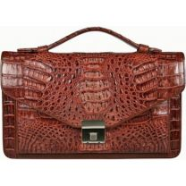 Alligator leren handtas  MCM124-M Brown
