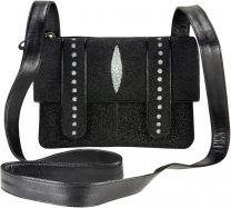 Pijlstaartrog leren messengerbag STH428-1C Black